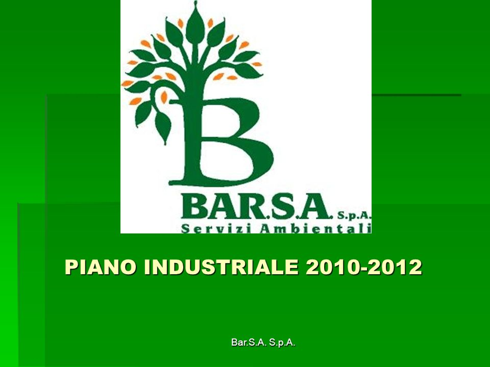 PIANO INDUSTRIALE 2010-2012 Bar.S.A. S.p.A.