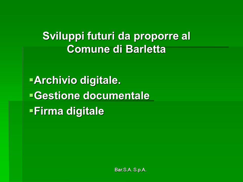 Sviluppi futuri da proporre al Comune di Barletta