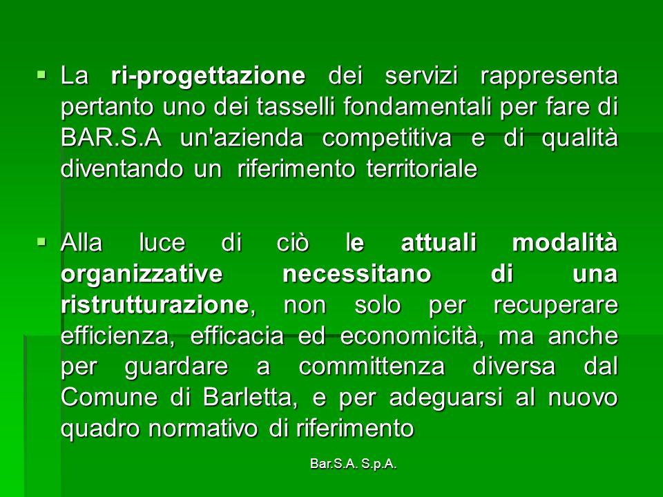 La ri-progettazione dei servizi rappresenta pertanto uno dei tasselli fondamentali per fare di BAR.S.A un azienda competitiva e di qualità diventando un riferimento territoriale