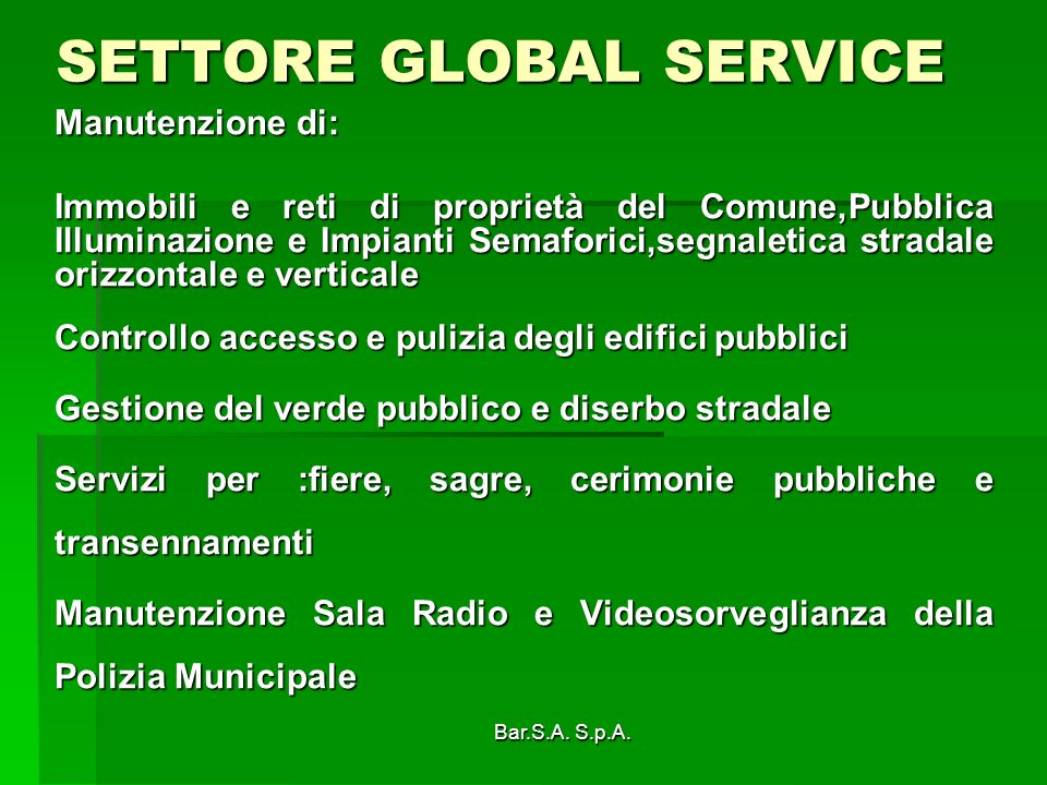 SETTORE GLOBAL SERVICE