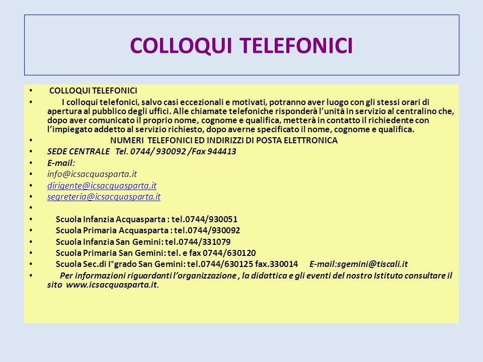 COLLOQUI TELEFONICI COLLOQUI TELEFONICI