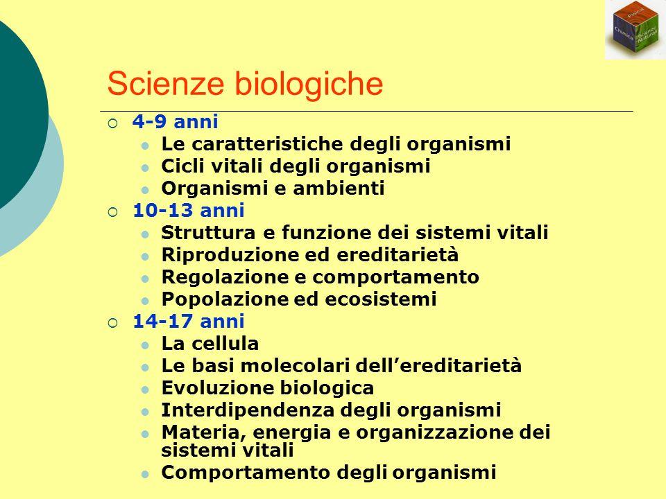 Scienze biologiche 4-9 anni Le caratteristiche degli organismi