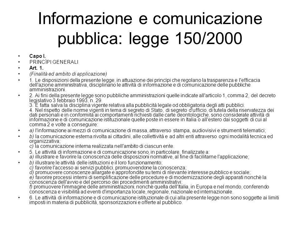 Informazione e comunicazione pubblica: legge 150/2000