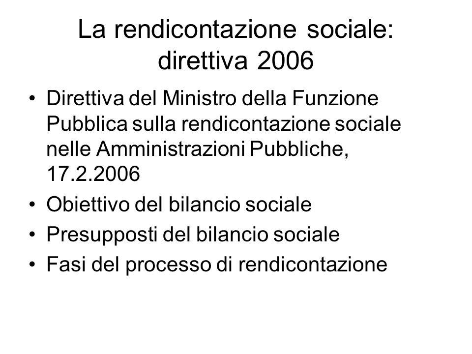 La rendicontazione sociale: direttiva 2006