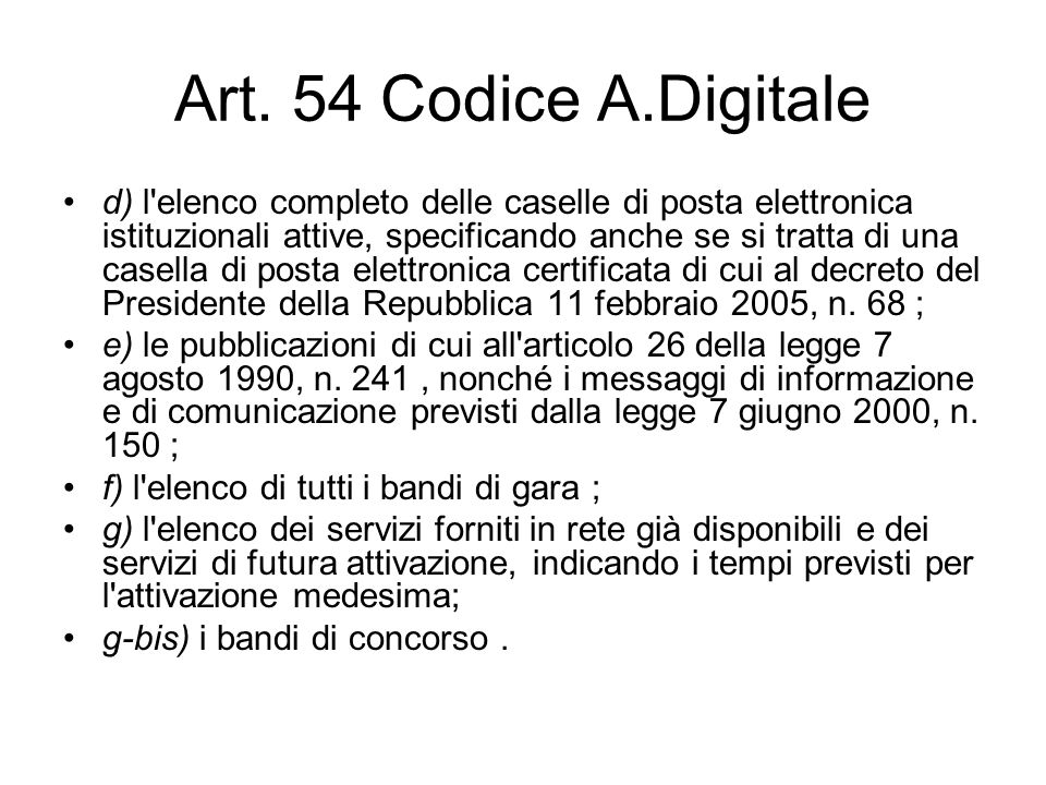 Art. 54 Codice A.Digitale