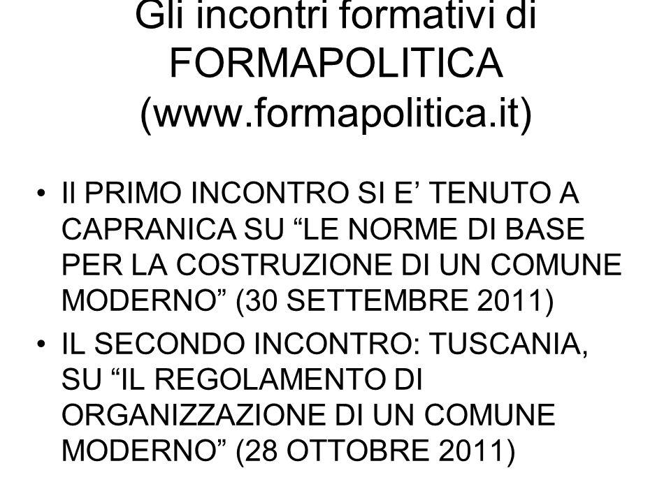 Gli incontri formativi di FORMAPOLITICA (www.formapolitica.it)