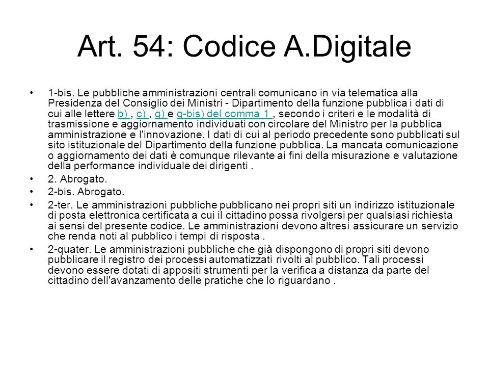 Art. 54: Codice A.Digitale