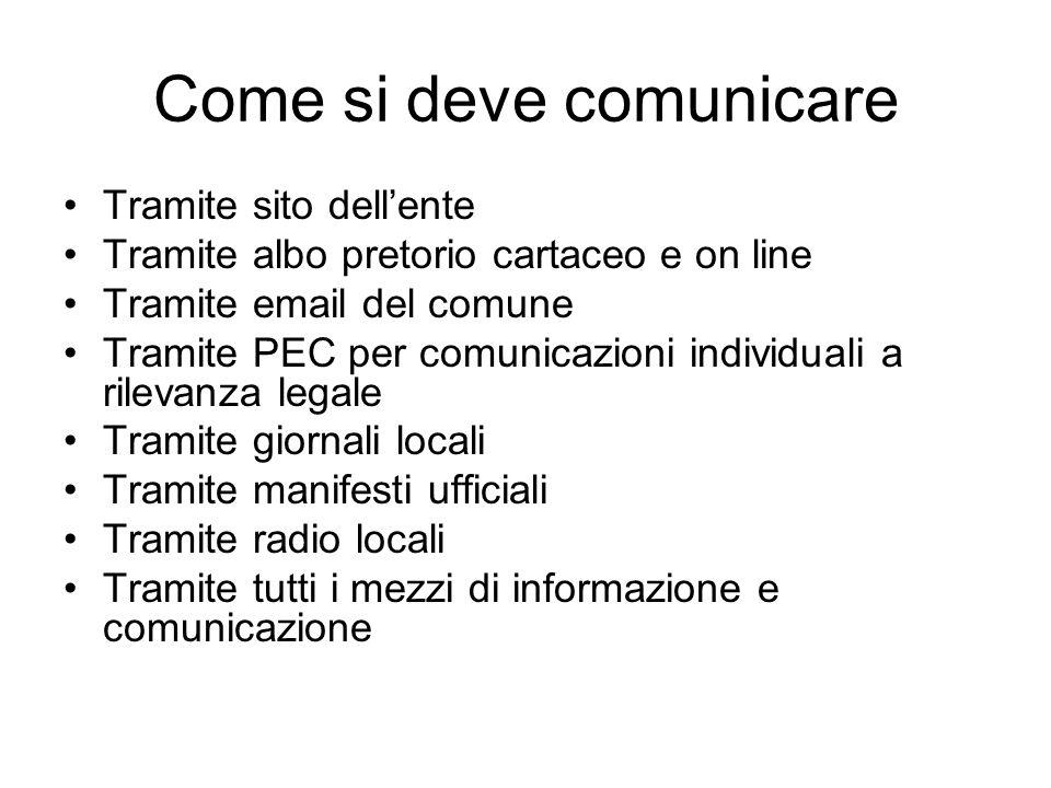 Come si deve comunicare