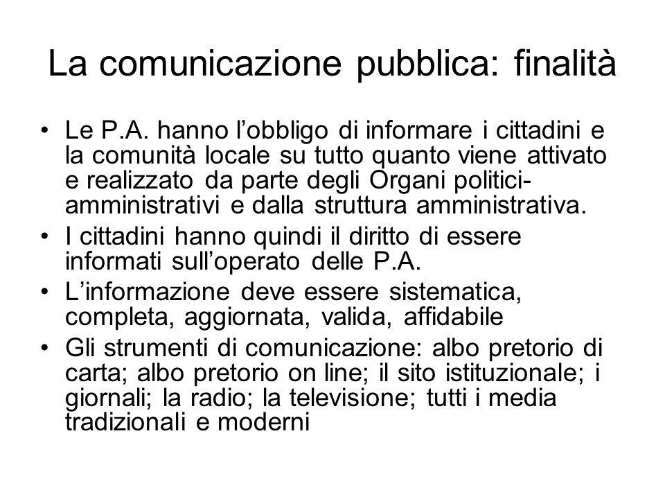 La comunicazione pubblica: finalità
