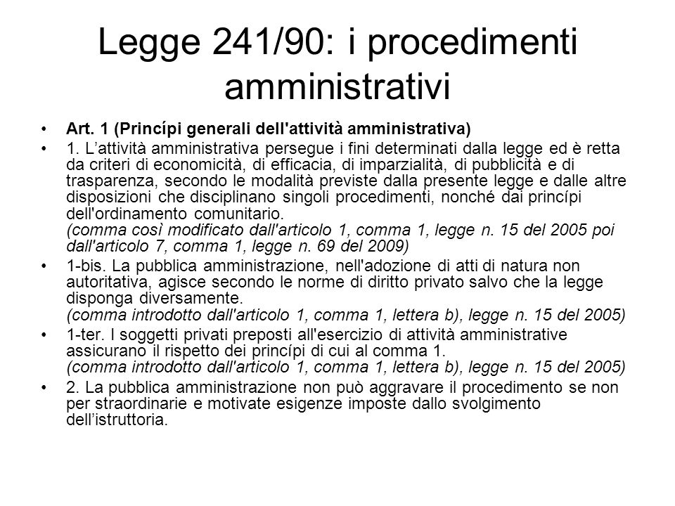 Legge 241/90: i procedimenti amministrativi