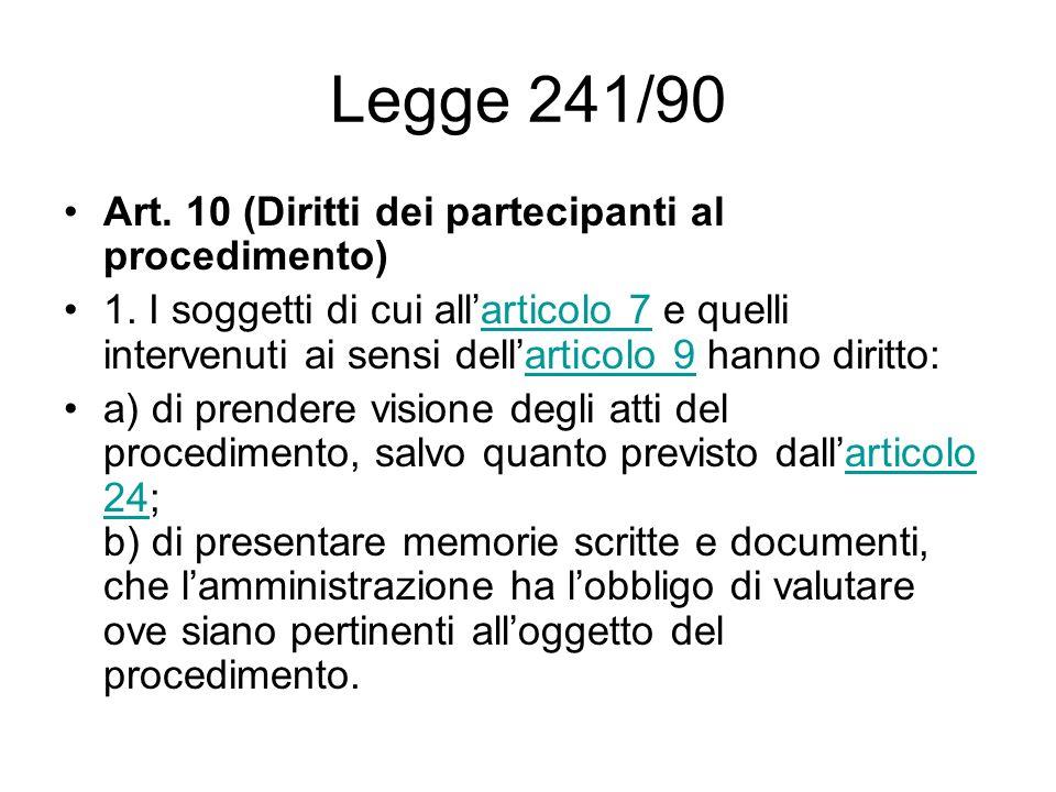 Legge 241/90 Art. 10 (Diritti dei partecipanti al procedimento)