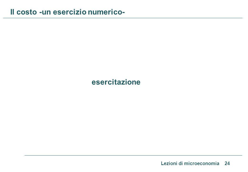 Il costo -un esercizio numerico-
