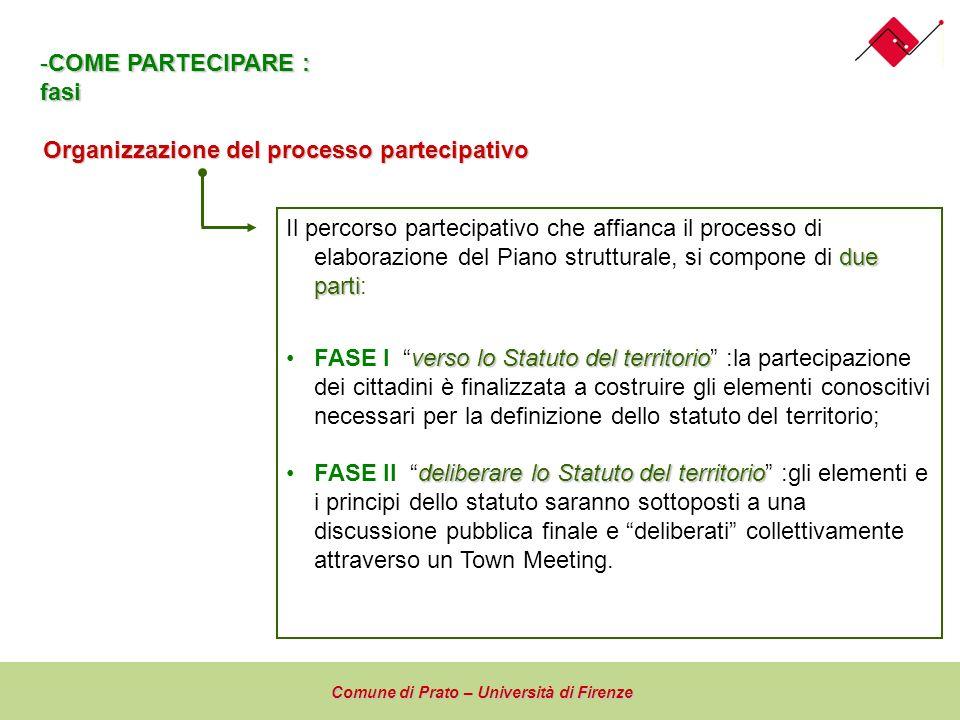 Organizzazione del processo partecipativo