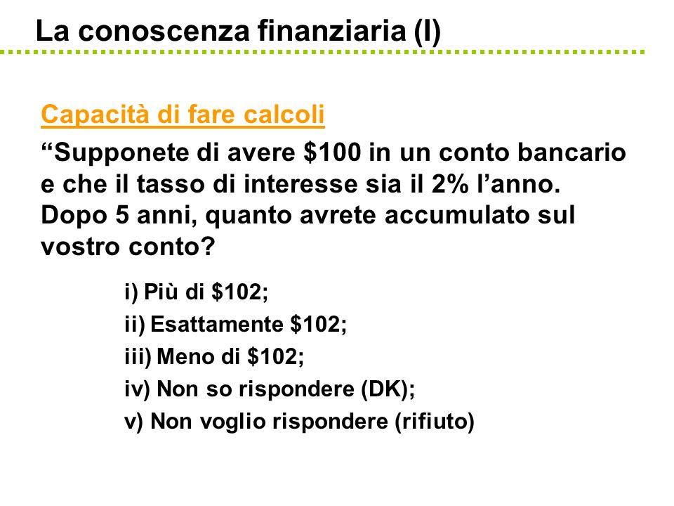 La conoscenza finanziaria (I)