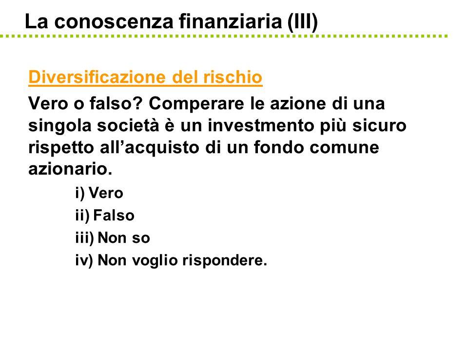 La conoscenza finanziaria (III)