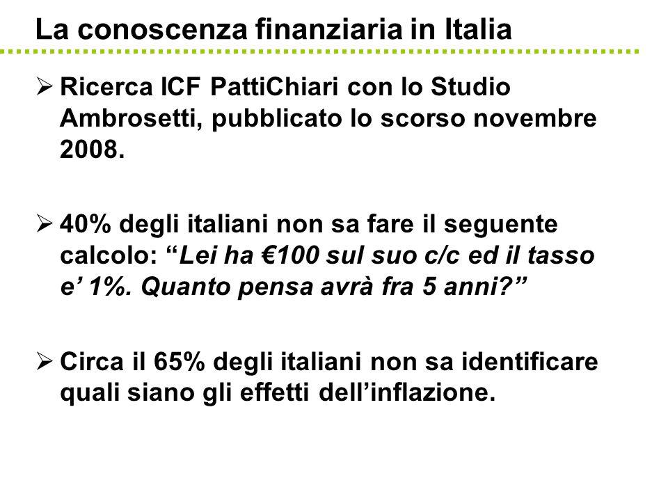 La conoscenza finanziaria in Italia