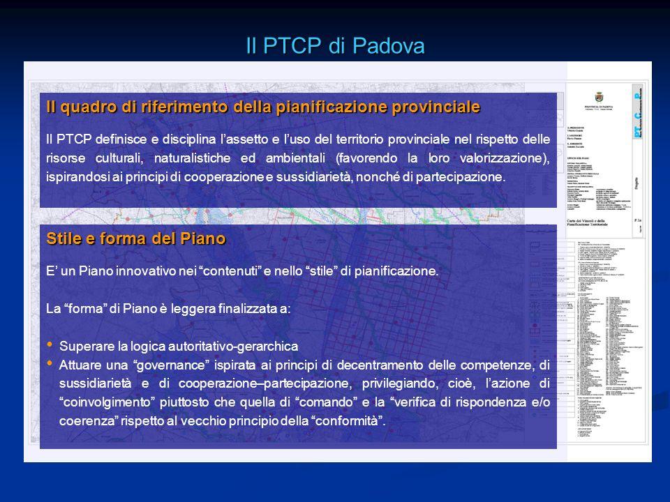 Il PTCP di Padova Il quadro di riferimento della pianificazione provinciale.