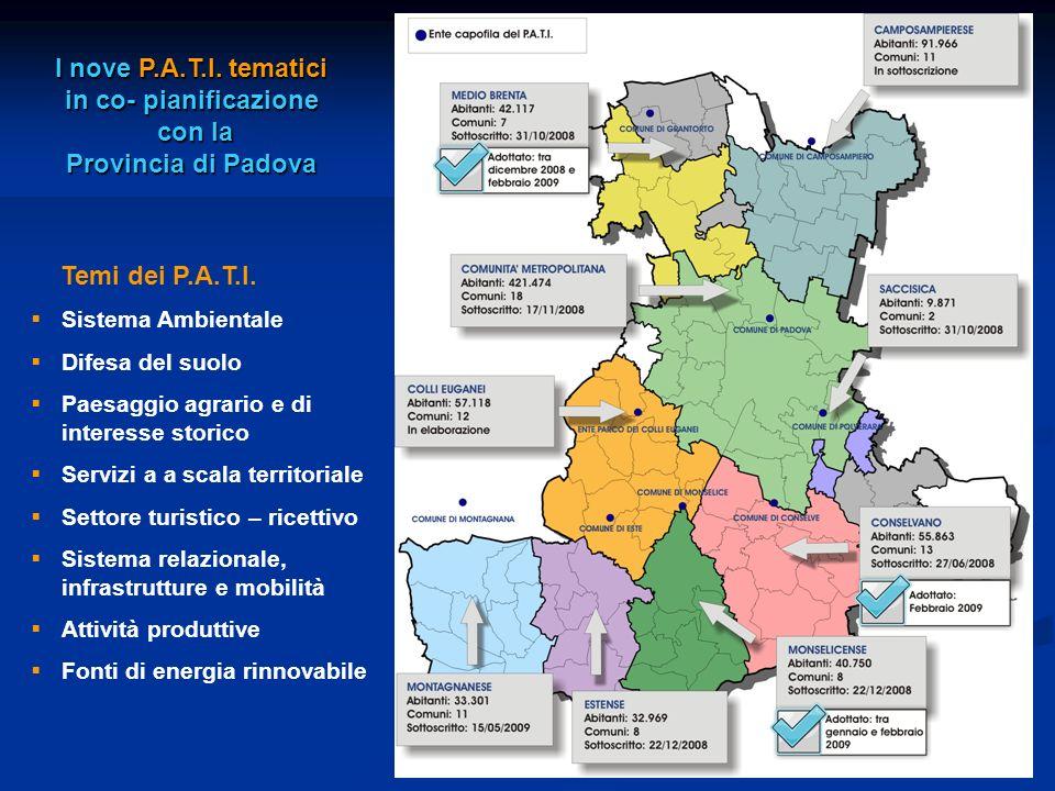 I nove P.A.T.I. tematici in co- pianificazione