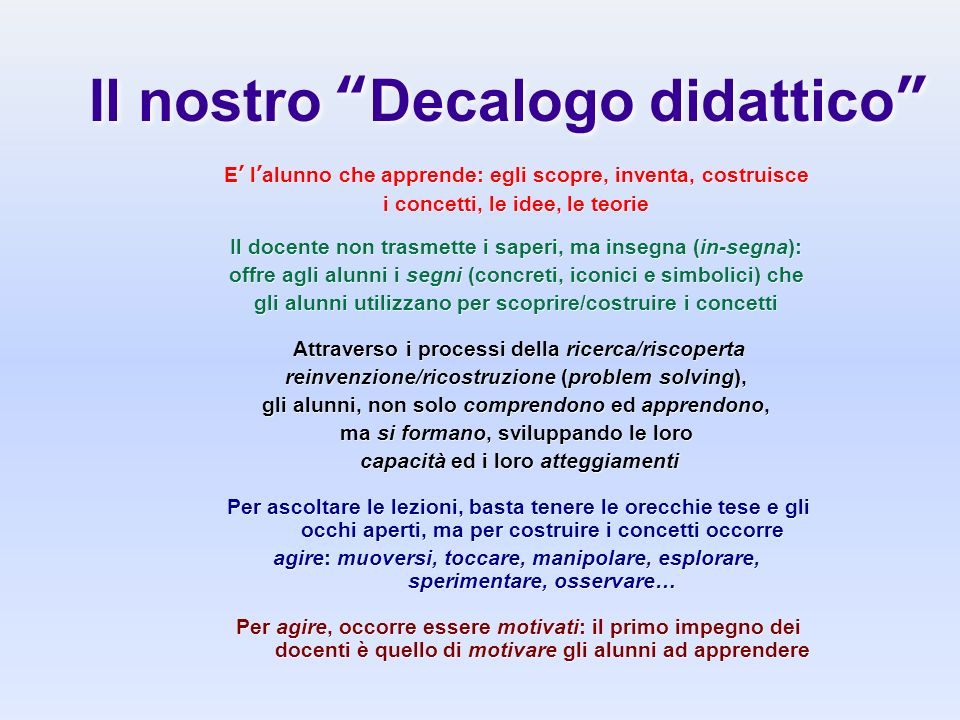 Il nostro Decalogo didattico