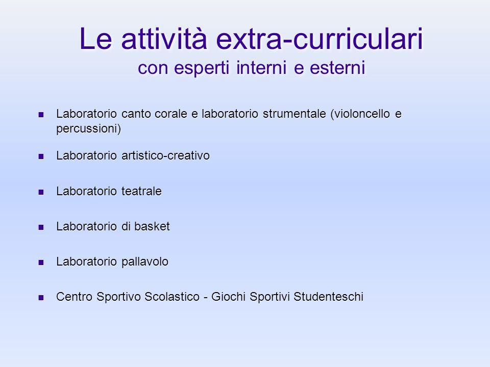 Le attività extra-curriculari con esperti interni e esterni