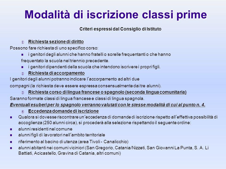 Modalità di iscrizione classi prime