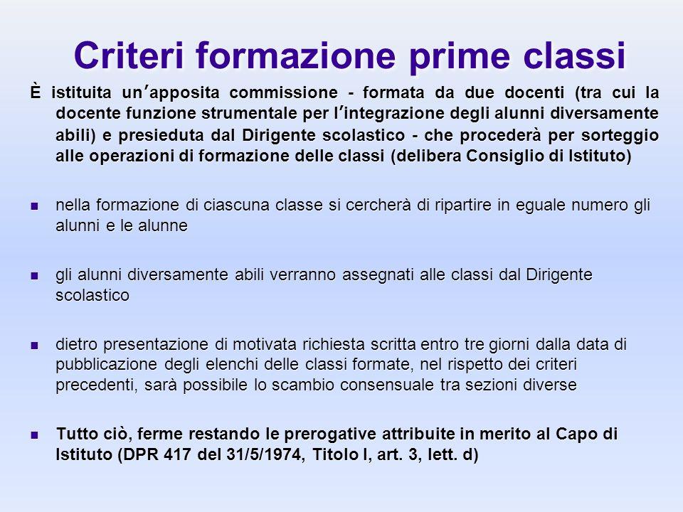 Criteri formazione prime classi