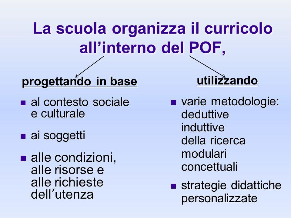 La scuola organizza il curricolo all'interno del POF,