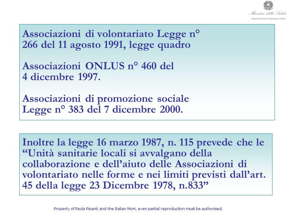 Associazioni di volontariato Legge n°
