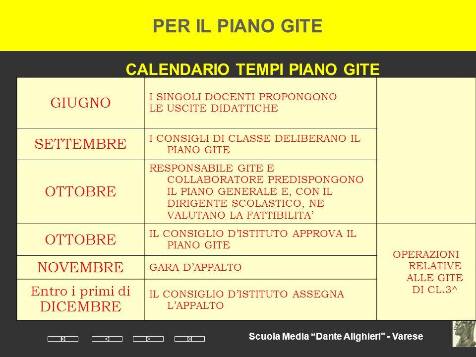 CALENDARIO TEMPI PIANO GITE