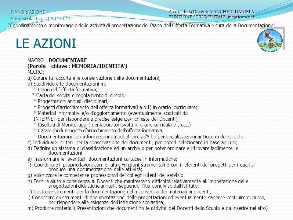 PIANO d'AZIONE Anno scolastico 2010 - 2011