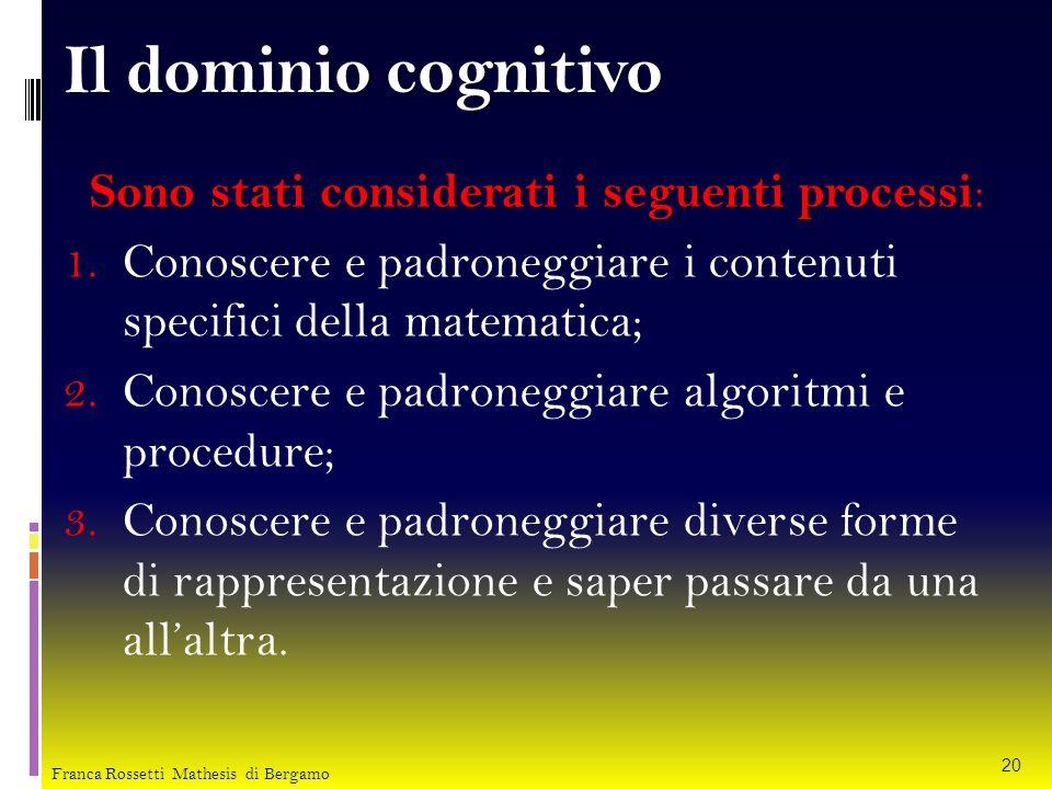 Il dominio cognitivo Sono stati considerati i seguenti processi: Conoscere e padroneggiare i contenuti specifici della matematica;