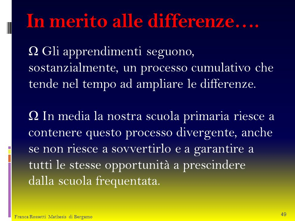 In merito alle differenze….