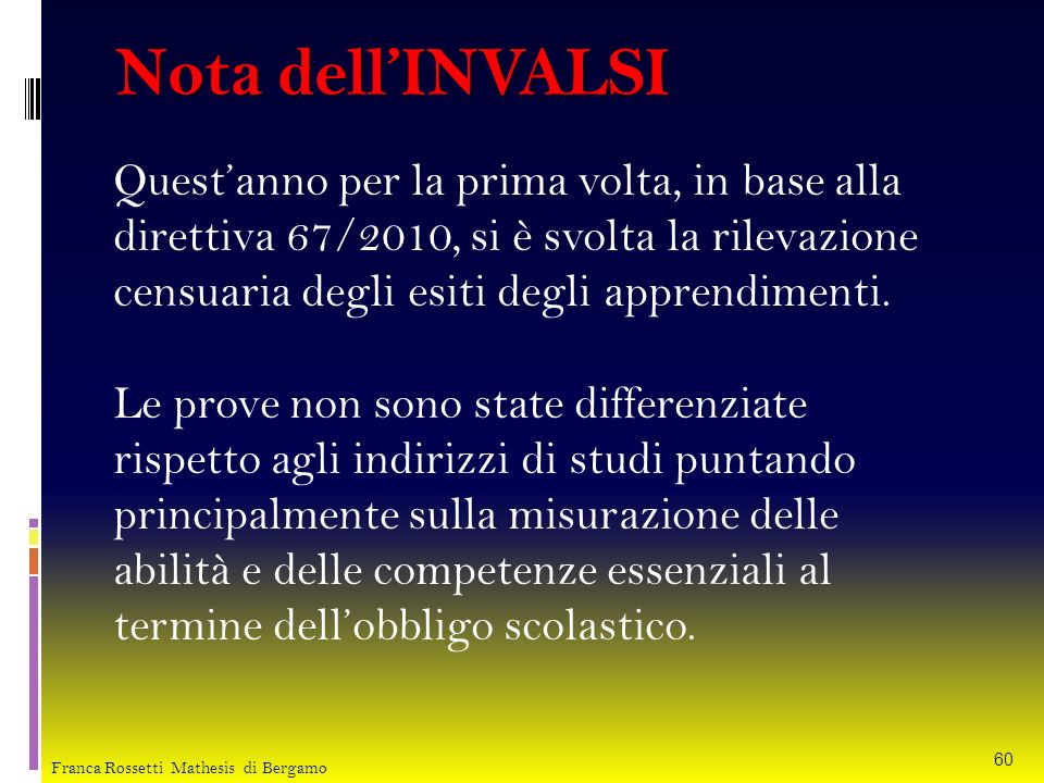 Nota dell'INVALSI