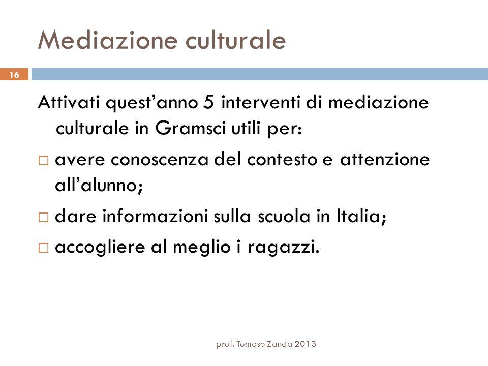 Mediazione culturale Attivati quest'anno 5 interventi di mediazione culturale in Gramsci utili per: