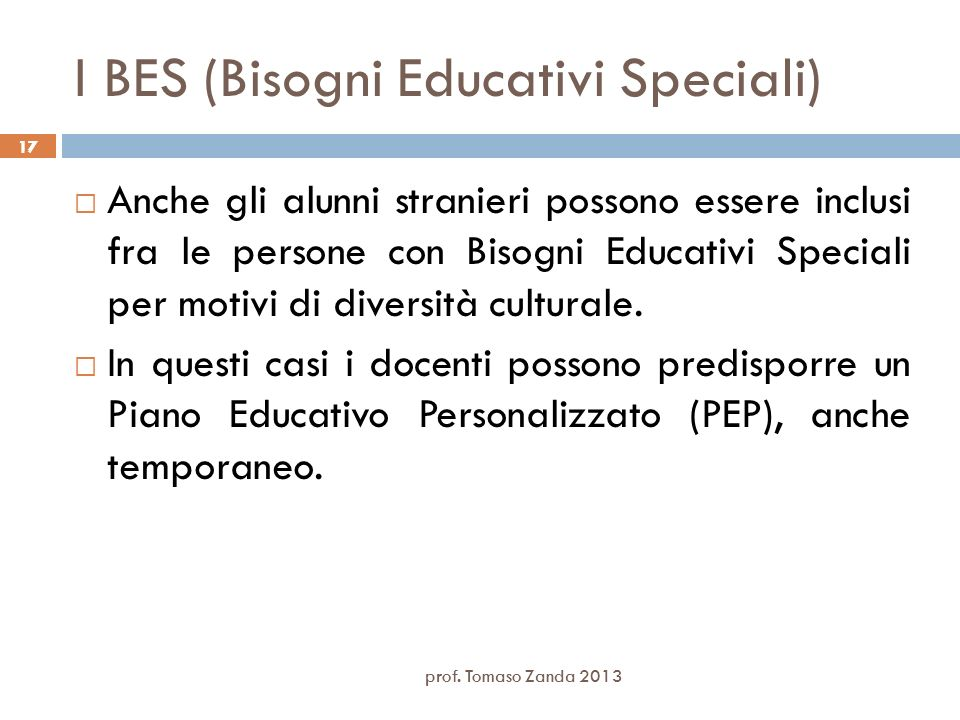 I BES (Bisogni Educativi Speciali)
