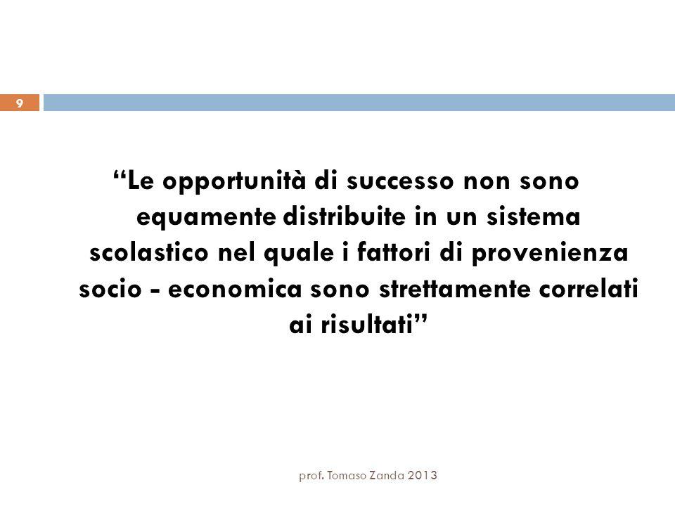 Le opportunità di successo non sono equamente distribuite in un sistema scolastico nel quale i fattori di provenienza socio - economica sono strettamente correlati ai risultati