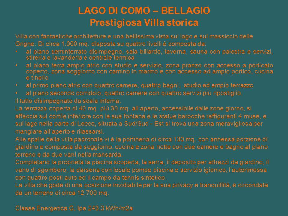 LAGO DI COMO – BELLAGIO Prestigiosa Villa storica