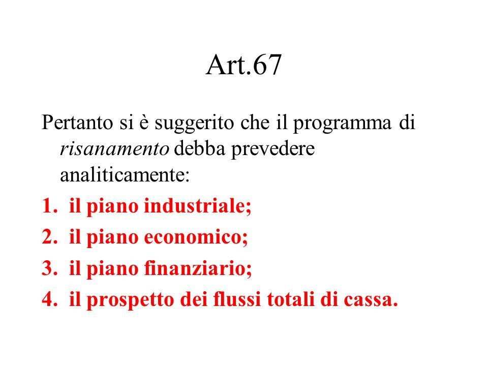 Art.67Pertanto si è suggerito che il programma di risanamento debba prevedere analiticamente: il piano industriale;