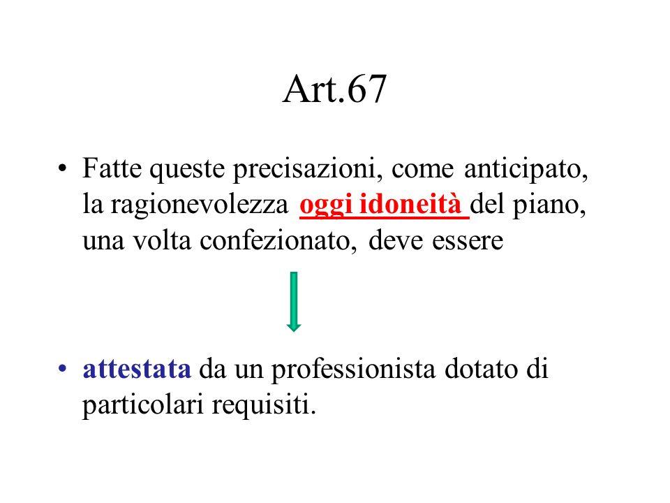 Art.67 Fatte queste precisazioni, come anticipato, la ragionevolezza oggi idoneità del piano, una volta confezionato, deve essere.