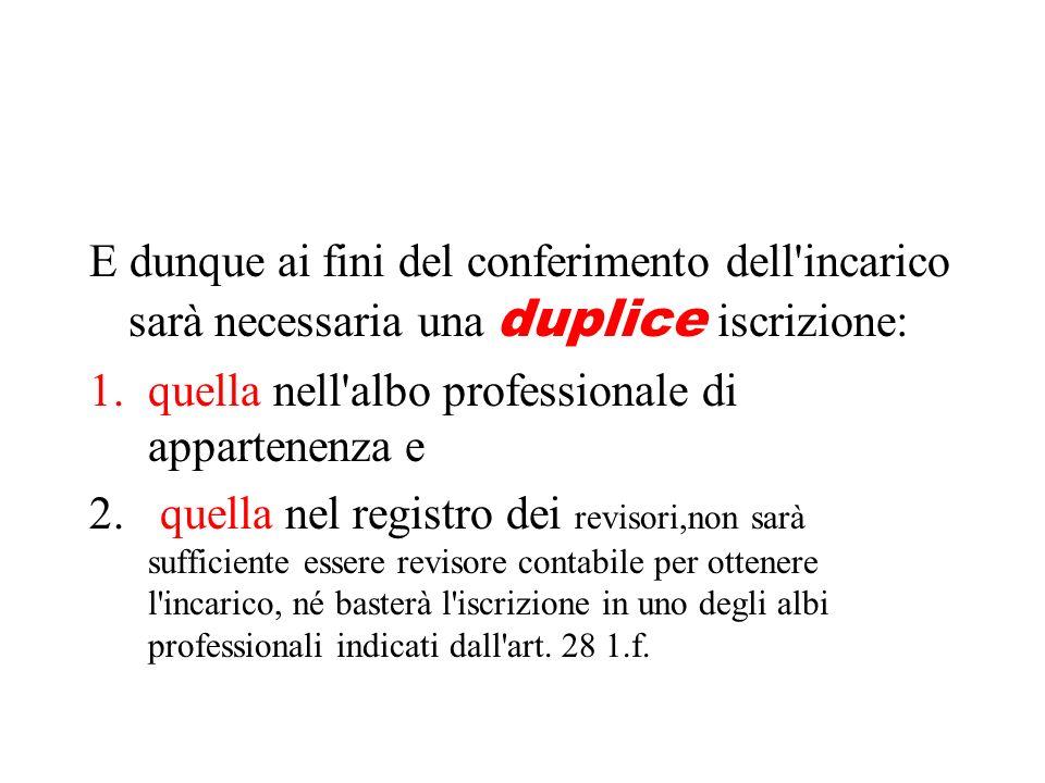 E dunque ai fini del conferimento dell incarico sarà necessaria una duplice iscrizione: