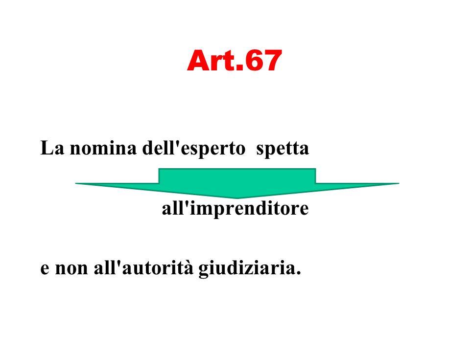 Art.67 La nomina dell esperto spetta all imprenditore