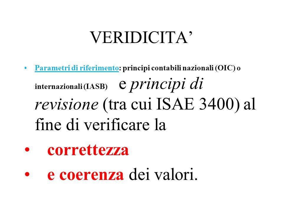VERIDICITA' correttezza e coerenza dei valori.