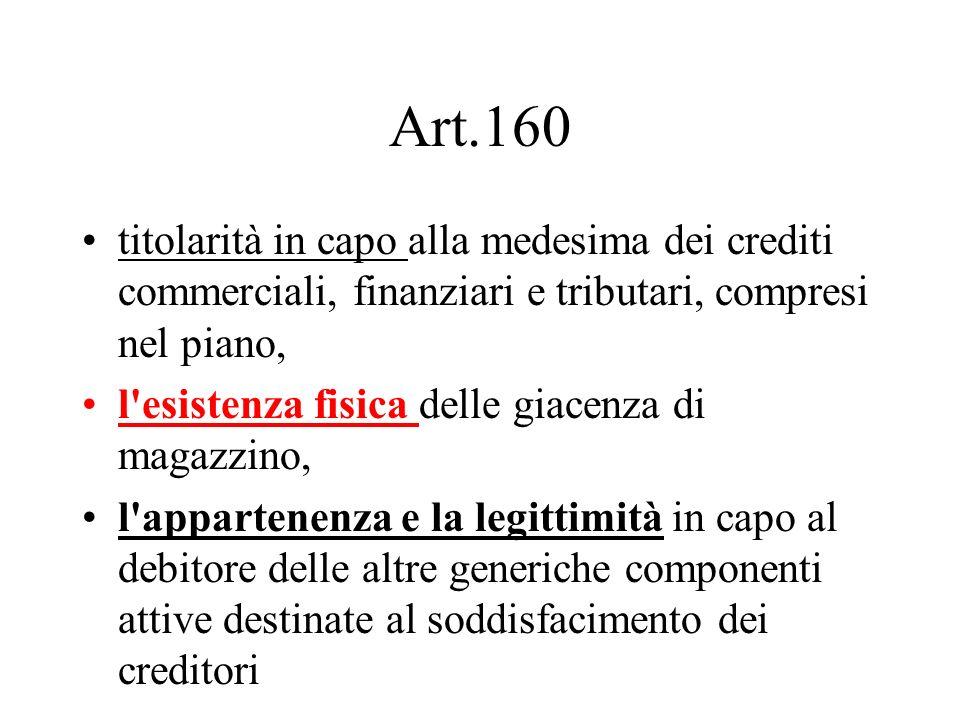 Art.160 titolarità in capo alla medesima dei crediti commerciali, finanziari e tributari, compresi nel piano,