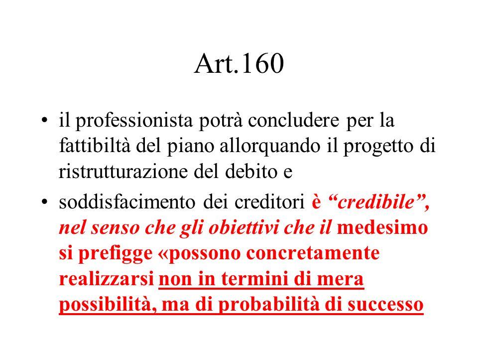 Art.160 il professionista potrà concludere per la fattibiltà del piano allorquando il progetto di ristrutturazione del debito e.