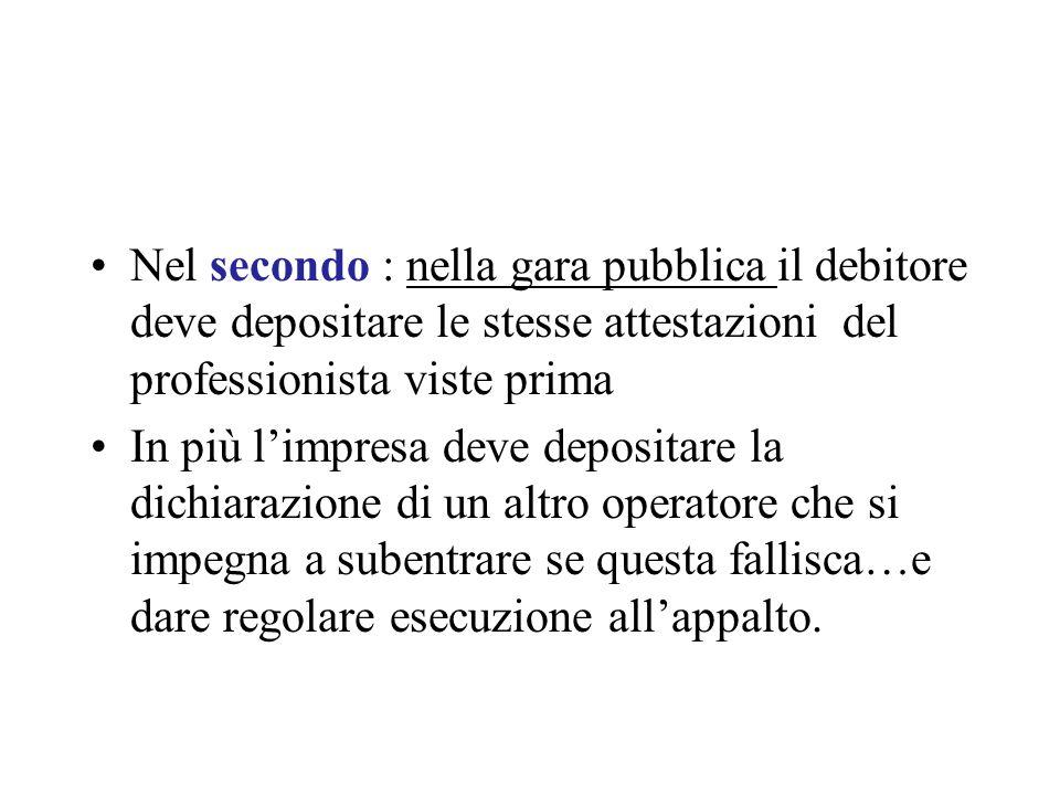 Nel secondo : nella gara pubblica il debitore deve depositare le stesse attestazioni del professionista viste prima