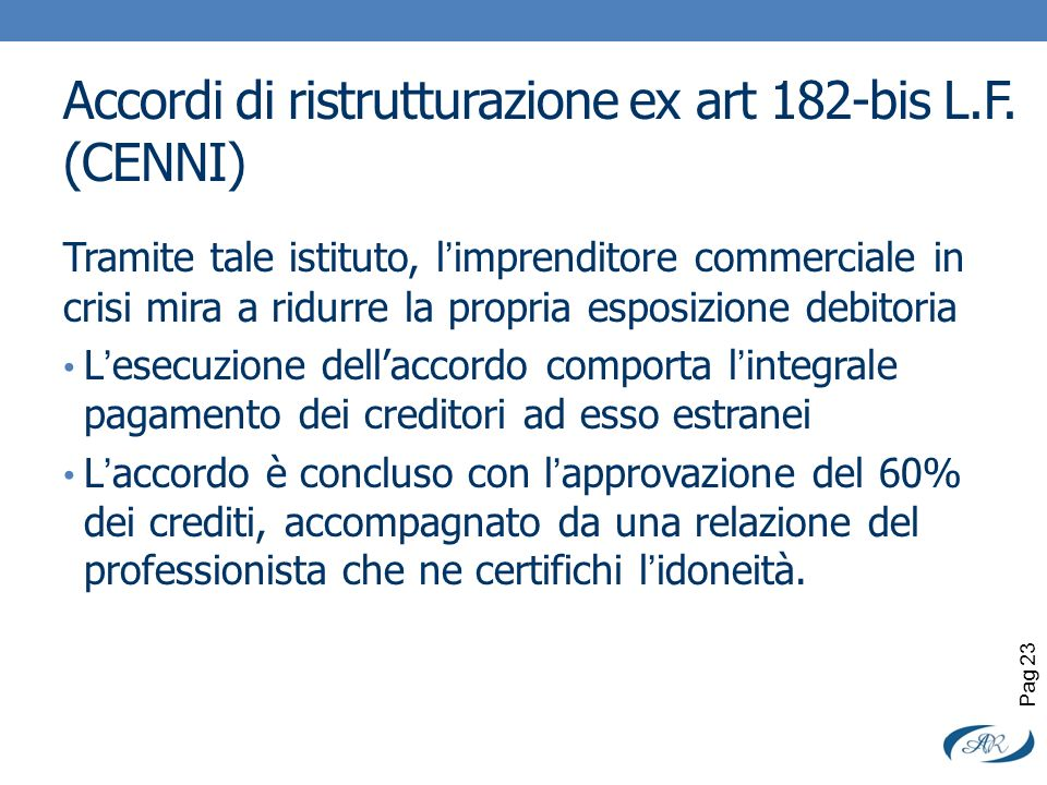 Accordi di ristrutturazione ex art 182-bis L.F. (CENNI)