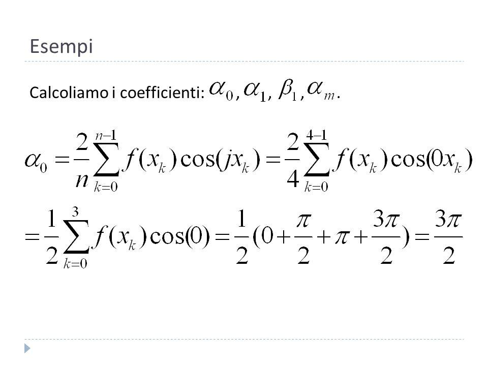 Esempi Calcoliamo i coefficienti: , , , .