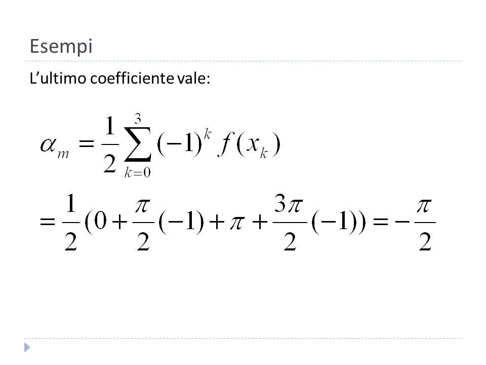 Esempi L'ultimo coefficiente vale: