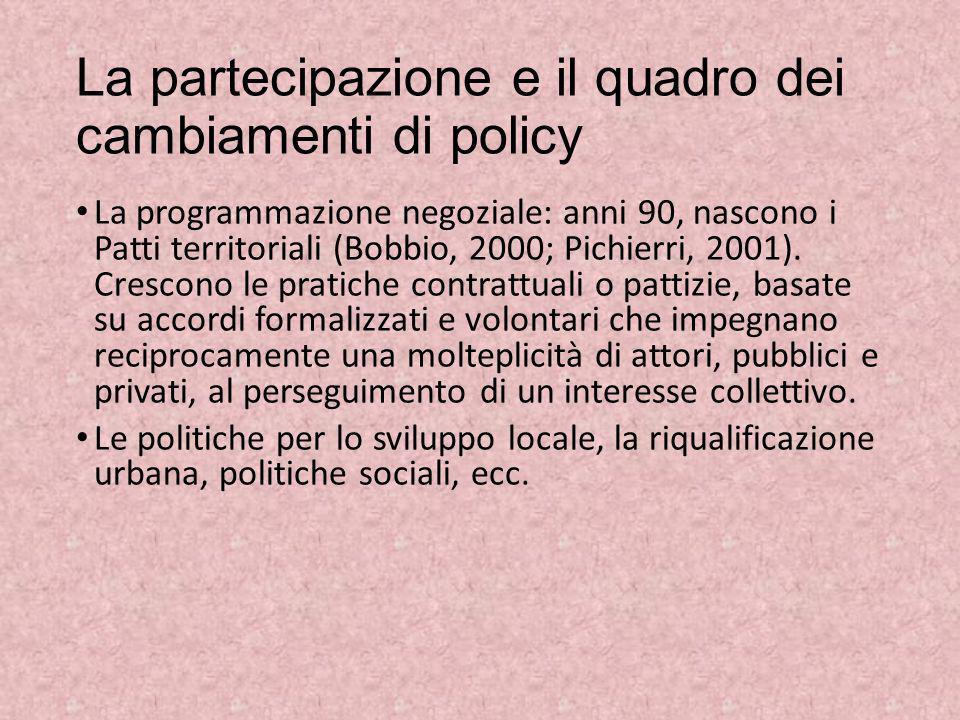 La partecipazione e il quadro dei cambiamenti di policy