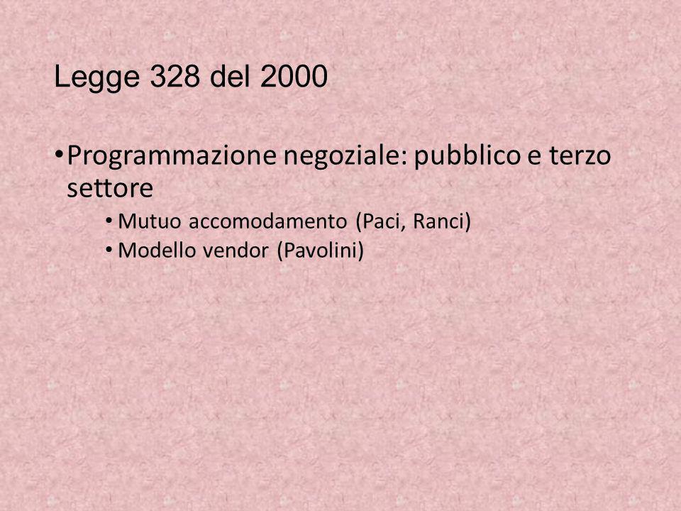 Legge 328 del 2000 Programmazione negoziale: pubblico e terzo settore